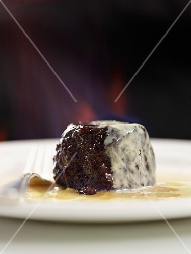 Christmas pudding with custard