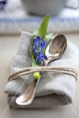 A napkin with a spoon and blue hyacinth