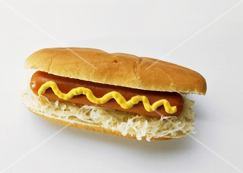 One Hot Dog with Sauerkraut and Mustard
