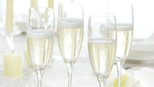 Four glasses of sparkling wine