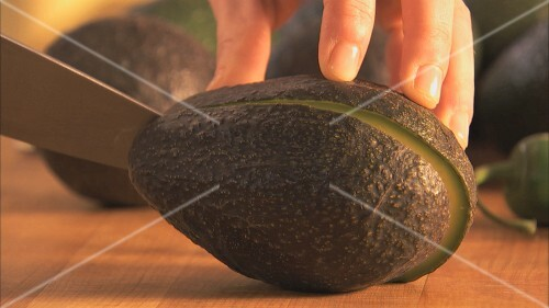 Halving an avocado