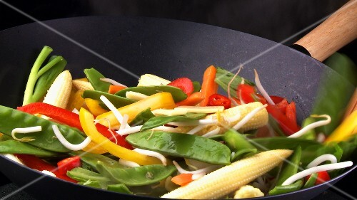 Stir-frying vegetables in wok