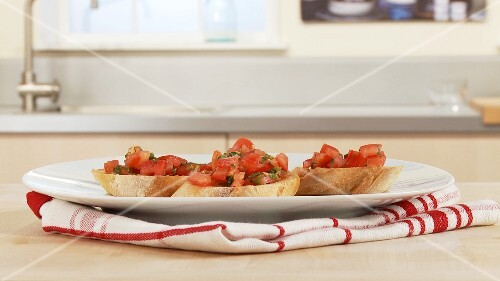 Bruschetta (toasted bread with tomatoes, Italy)