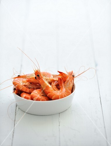 Bowl of cooked shrimps