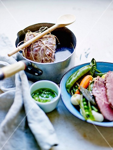 Roast beef with spring vegetables