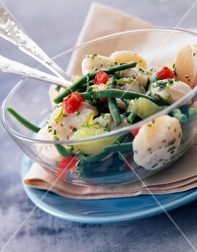 salat mit jakobsmuschelmedaillons gr nen bohnen mit zitrone und leicht sauren tomaten bild. Black Bedroom Furniture Sets. Home Design Ideas