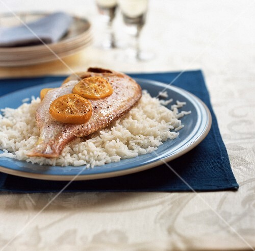 Pink sea bream with preserved lemon, on bed of rice