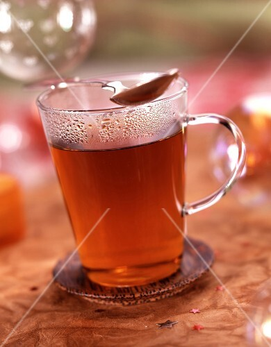 Tea in glass mug