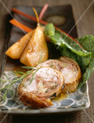 Saddle of rabbit with pears