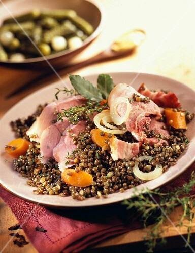Salt pork with lentils