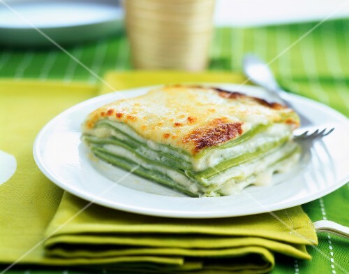 Four cheese green lasagnes