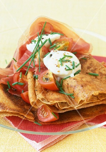Buckwheat crepes with Parma ham