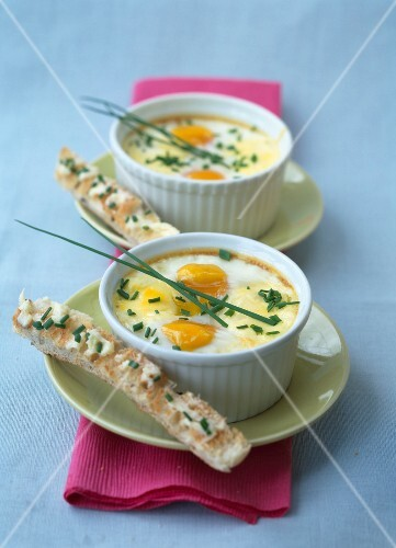 Coddled eggs with herbs
