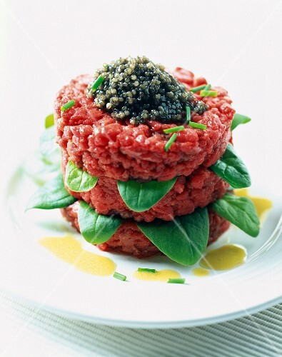 Beef tartare with basil and caviar