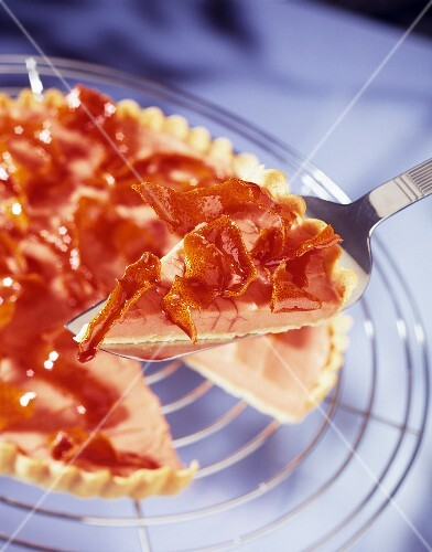 Blood orange tart with preserved zest