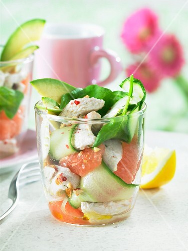 Turkey, vegetable and grapefruit salad