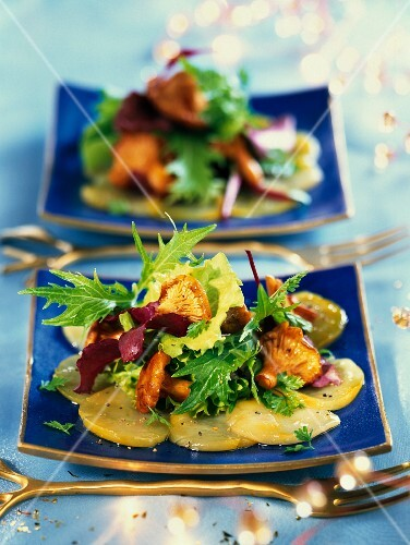 Scallop carpaccio with saffron and a colourful salad