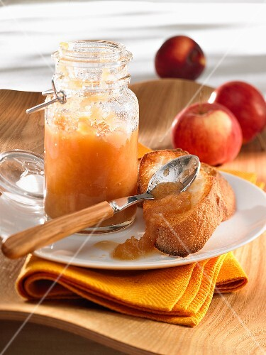 A slice of bread with apple compote