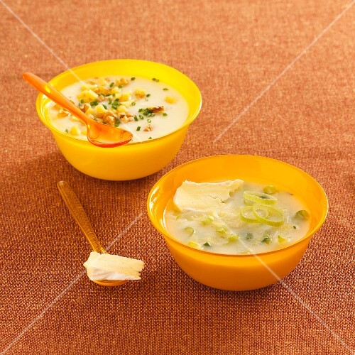 Creamy potato soup with Beaufort cheese, and potato leek soup with Camembert