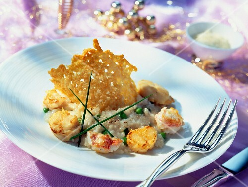 Risotto with scallops and langoustines