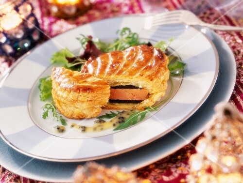 Foie gras with truffles and Pineau-des-Charentes liqueur in puff pastry