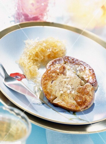 Flash fried foie gras with Riesling cabbage