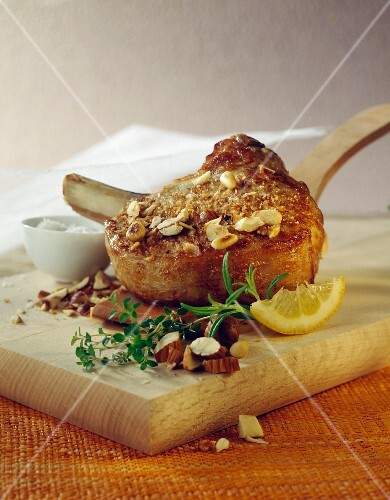 Veal chop in hazelnut crust