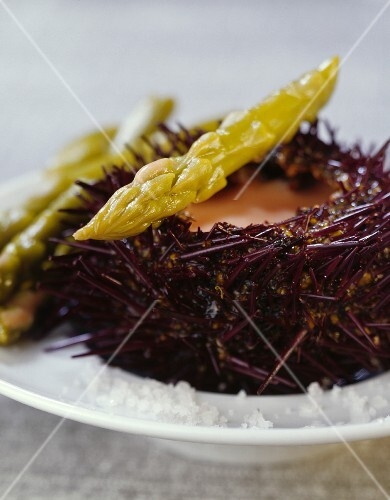 Green asparagus with urchin cream