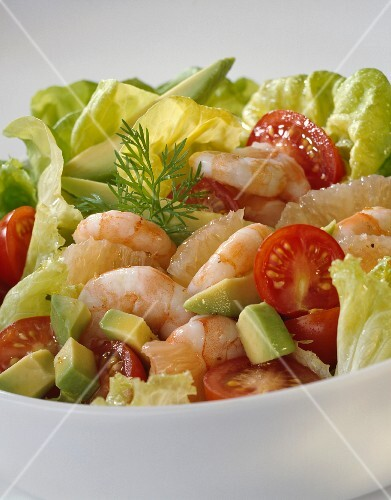 Shrimp, avocado and tomato salad