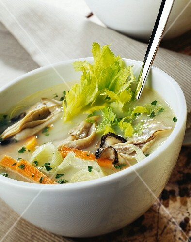 Oyster and celeriac soup