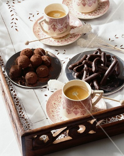 Chocolate truffles and chocolate-orange sticks
