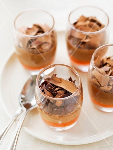 Chocolate mousse with pepper puree