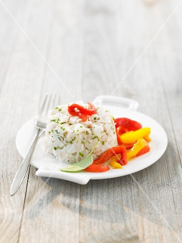 Cod tartare with red and yellow peppers