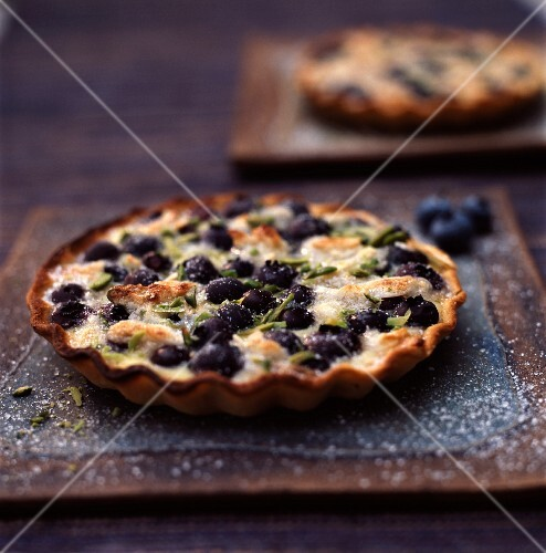 Clafoutis-style blueberry and pistachio tart