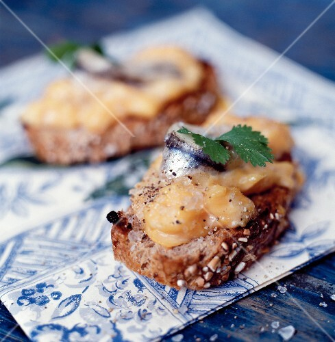 Anchovies with rouille on seeded bread