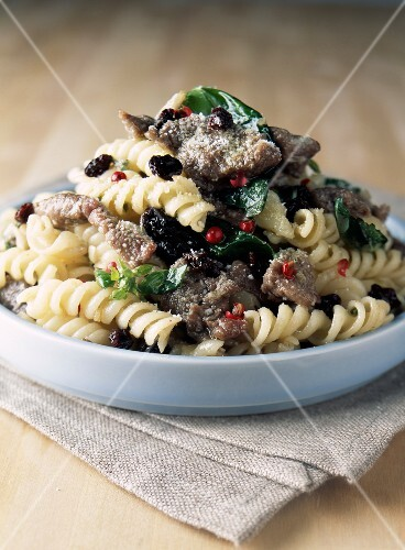 Fusilli with marinated lamb and currants