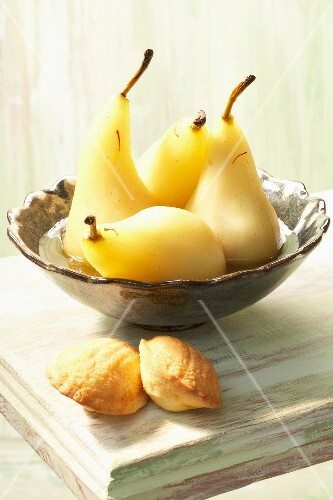 Pears poached with Sauternes,honey and saffron