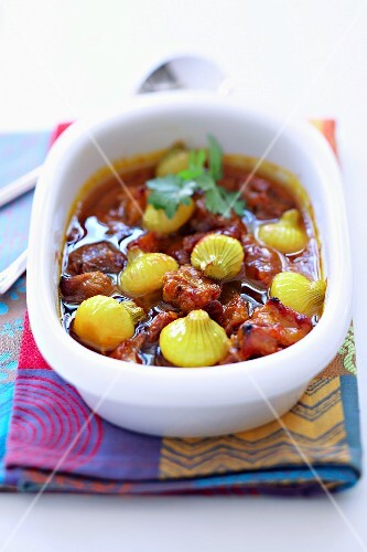 Pork and onion tajine