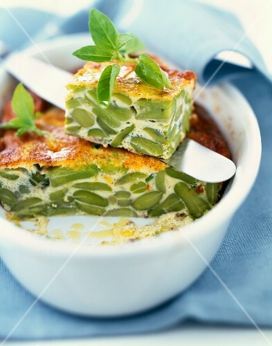 Broad bean and parmesan Clafoutis