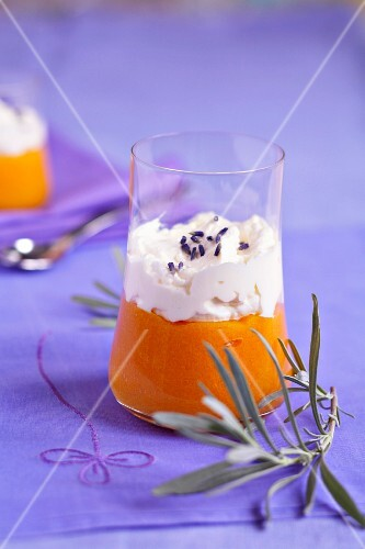 Lavander-flavored stewed apricots with whipped cream