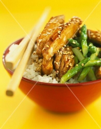 Teriyaki chicken with green asparagus and Japanese rice