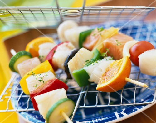 White fish and vegetable kebabs