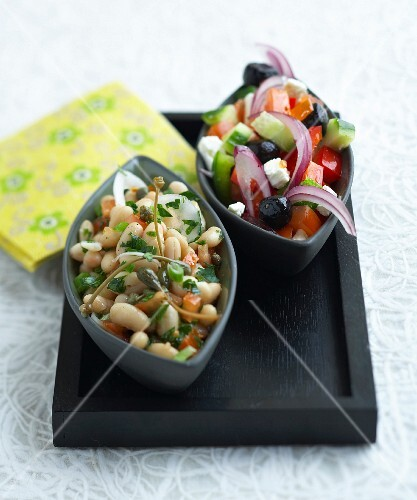 Greek salad and white bean salad