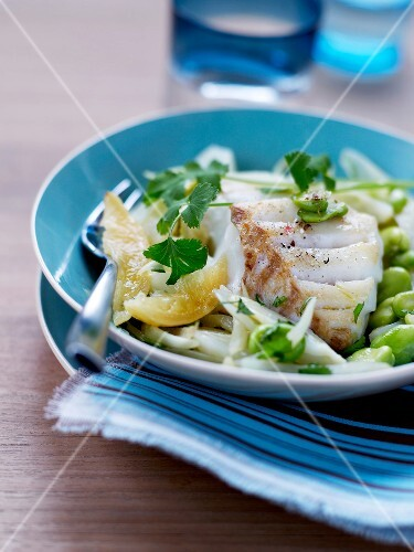 Pan-fried cod with broad beans and confit citrus