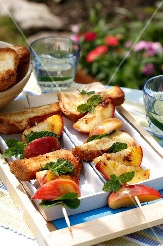 Nectarine,grilled brioche and mint brochette