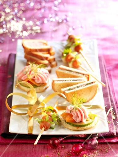Assorted Christmas canapés