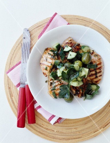 Grilled chicken,zucchini and olive salad