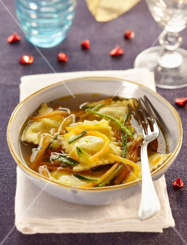 Ravioli and vegetable soup