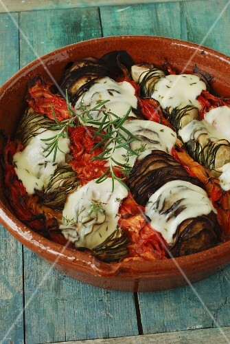 Vegetable Tian with mozzarella and rosemary