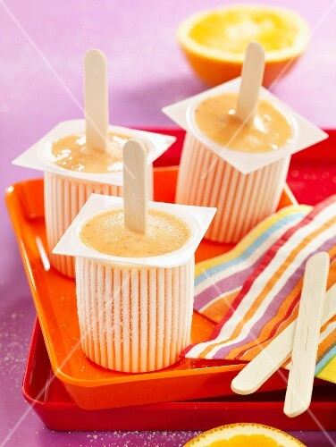 Orange and cinnamon ice cream bars